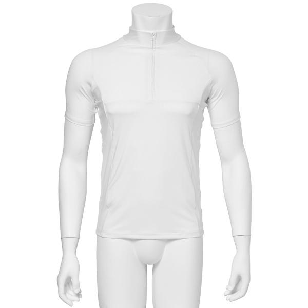 """画像1: バレエ 紳士 """"宗像"""" 白, ストレッチジップアップTシャツ、吸汗速乾 (1)"""