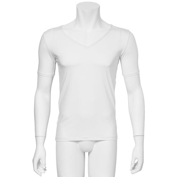 """画像1: バレエ 紳士 """"藤堂"""" 白,  VネックTシャツ、吸汗速乾 (1)"""
