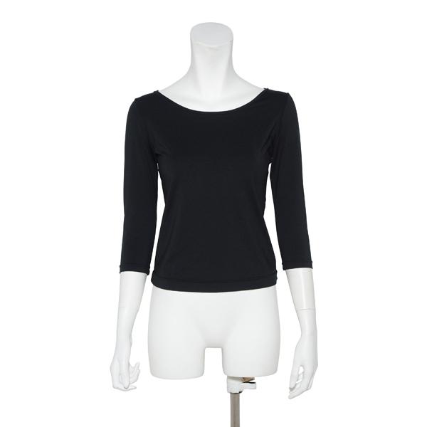 画像1: ダンスウェア 7分丈Tシャツ、黒, 吸汗速乾、UVカット(UPF50+) (1)